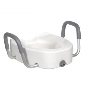 Premium Plastic Raised Toilet Seat with Lock and Padded Armrests, Elongated