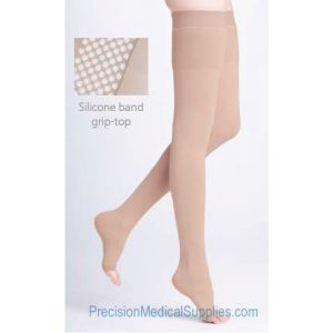 Sigvaris - 500 Natural Rubber Thigh-High with Grip-Top Open-Toe 40-50mmHg