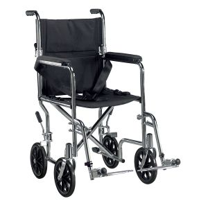 Go Cart Light Weight Steel Transport Wheelchair with Swing Away Footrest