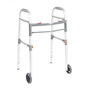 "Two Button Folding Universal Walker with 5"" Wheels"