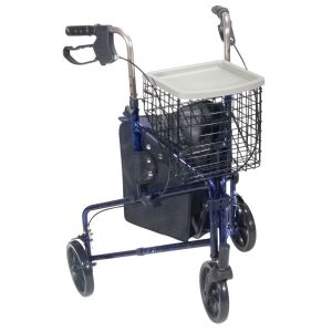 3 Wheel Walker Rollator with Basket Tray and Pouch