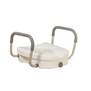 Raised Toilet Seat with Removable Padded Arms, Standard Seat