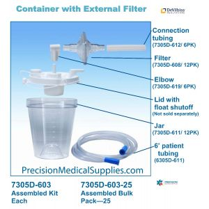 DeVilbiss - 7305 Series 800ml Disposable Container Lid With External Filter 48 Pack