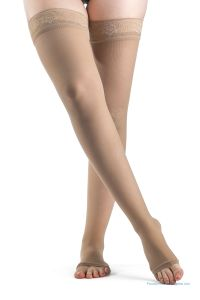 Sigvaris 780 Series EverSheer-For-Women,Thigh-High Support Stockings with Sensinnov Band Grip-Top 30-40mmHg Open-Toe 783NO Box Packaging