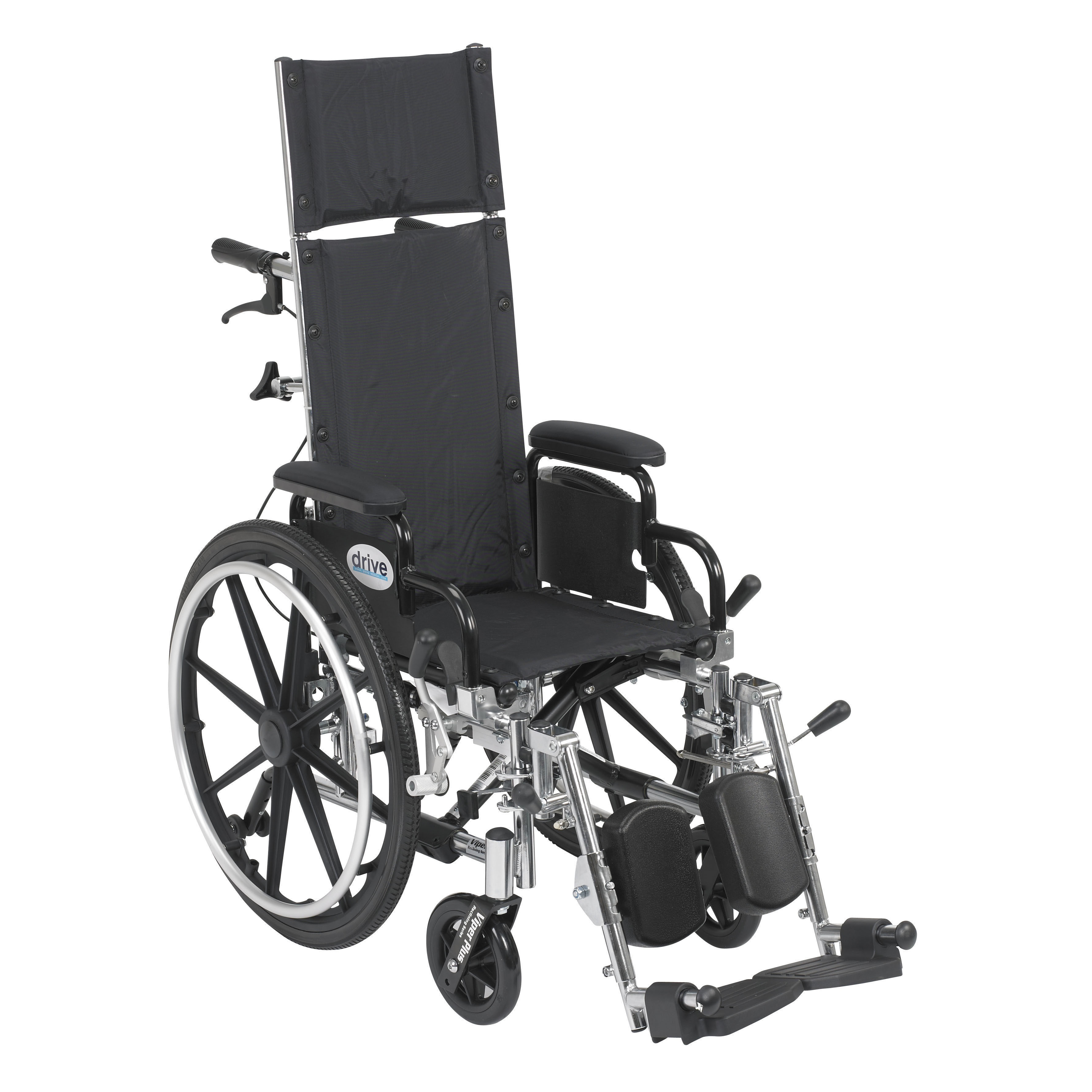 Drive Medical - Viper Plus Light Weight Reclining Wheelchair with Elevating Leg rest and Flip Back Detachable Arms